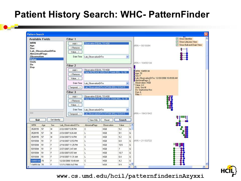 Patient History Search: WHC- PatternFinder www.cs.umd.edu/hcil/patternfinderinAzyxxi