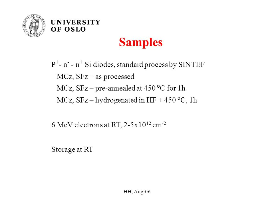 HH, Aug-06 Samples P + - n - - n + Si diodes, standard process by SINTEF MCz, SFz – as processed MCz, SFz – pre-annealed at 450 º C for 1h MCz, SFz – hydrogenated in HF + 450 º C, 1h 6 MeV electrons at RT, 2-5x10 12 cm -2 Storage at RT