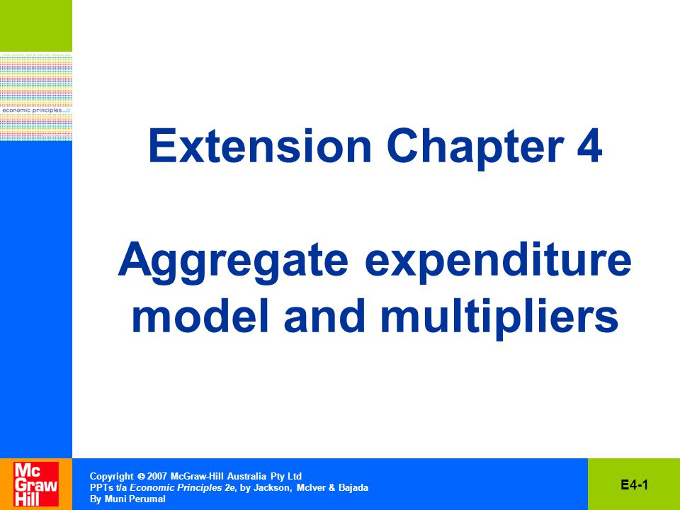 E4-12 Copyright  2007 McGraw-Hill Australia Pty Ltd PPTs t/a Economic Principles 2e, by Jackson, McIver & Bajada By Muni Perumal Average Propensity to Consume (APC) The fraction of any total income that is spent on consumption is: APC = Consumption Income