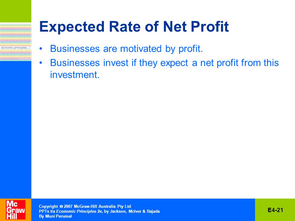 E4-21 Copyright  2007 McGraw-Hill Australia Pty Ltd PPTs t/a Economic Principles 2e, by Jackson, McIver & Bajada By Muni Perumal Expected Rate of Net Profit Businesses are motivated by profit.