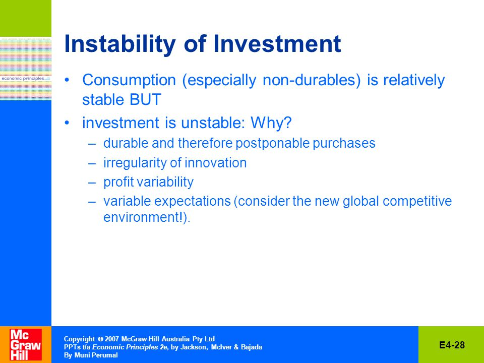 E4-28 Copyright  2007 McGraw-Hill Australia Pty Ltd PPTs t/a Economic Principles 2e, by Jackson, McIver & Bajada By Muni Perumal Instability of Investment Consumption (especially non-durables) is relatively stable BUT investment is unstable: Why.