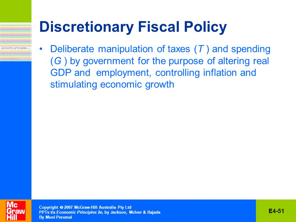 E4-51 Copyright  2007 McGraw-Hill Australia Pty Ltd PPTs t/a Economic Principles 2e, by Jackson, McIver & Bajada By Muni Perumal Discretionary Fiscal Policy Deliberate manipulation of taxes (T ) and spending (G ) by government for the purpose of altering real GDP and employment, controlling inflation and stimulating economic growth