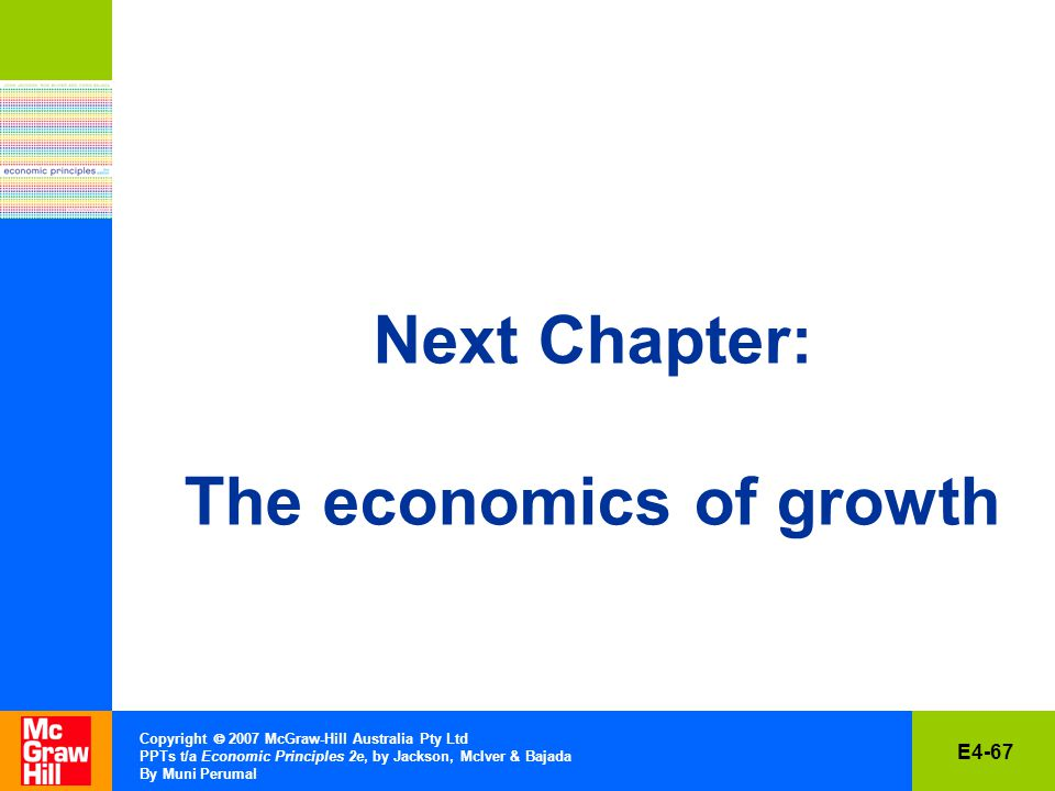 E4-67 Copyright  2007 McGraw-Hill Australia Pty Ltd PPTs t/a Economic Principles 2e, by Jackson, McIver & Bajada By Muni Perumal Next Chapter: The economics of growth