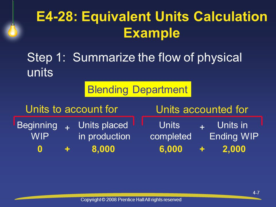 Copyright © 2008 Prentice Hall All rights reserved 4-7 E4-28: Equivalent Units Calculation Example Step 1: Summarize the flow of physical units Units to account for Units accounted for Blending Department Beginning WIP Units placed in production + Units completed Units in Ending WIP 08,0006,0002,000 ++ +
