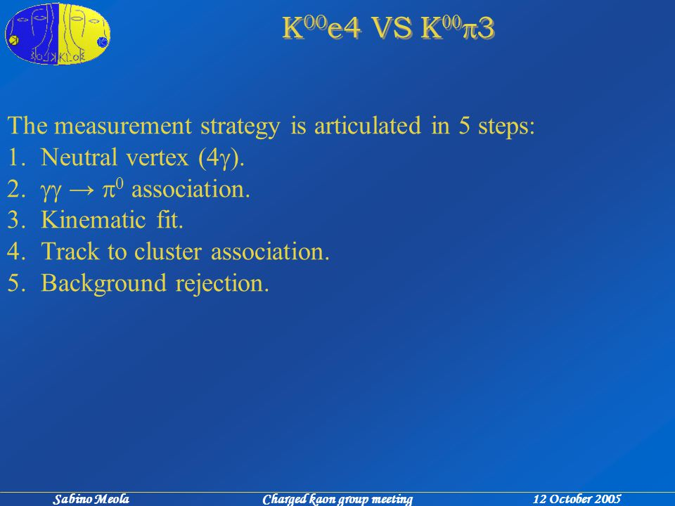 Sabino Meola Charged kaon group meeting 12 October 2005 K 00 e4 VS K 00  3 The measurement strategy is articulated in 5 steps: 1.Neutral vertex (4  ).