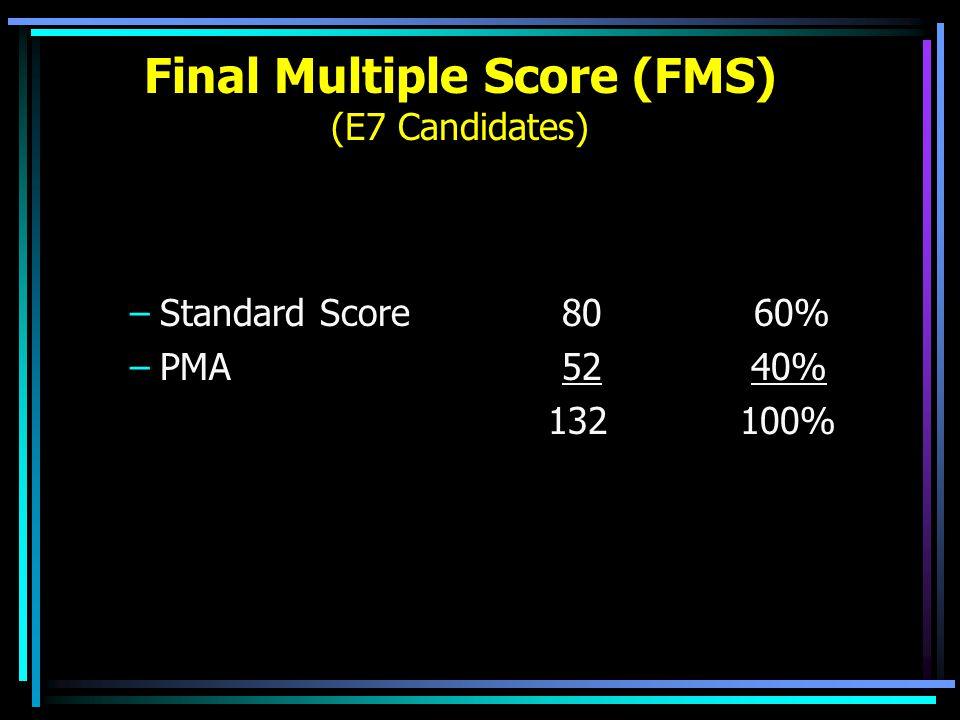 Final Multiple Score (FMS) (E7 Candidates) –Standard Score8060% –PMA 52 40% 132 100%