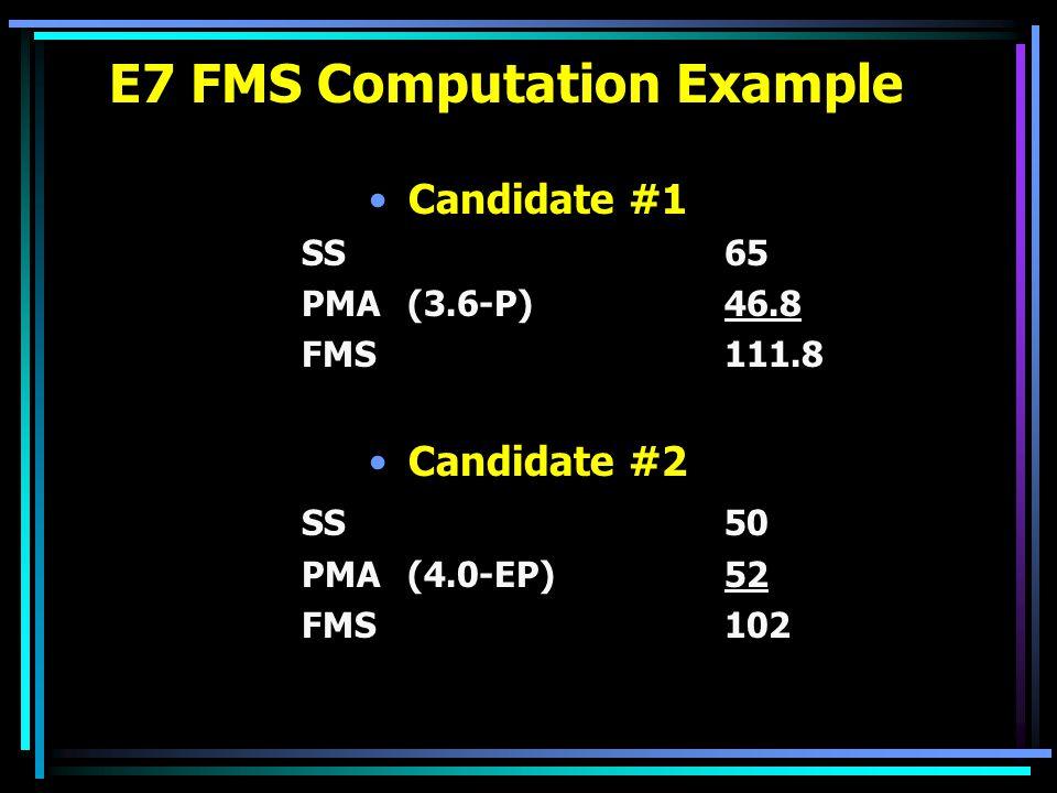 E7 FMS Computation Example Candidate #1 SS65 PMA(3.6-P)46.8 FMS111.8 Candidate #2 SS50 PMA(4.0-EP)52 FMS102