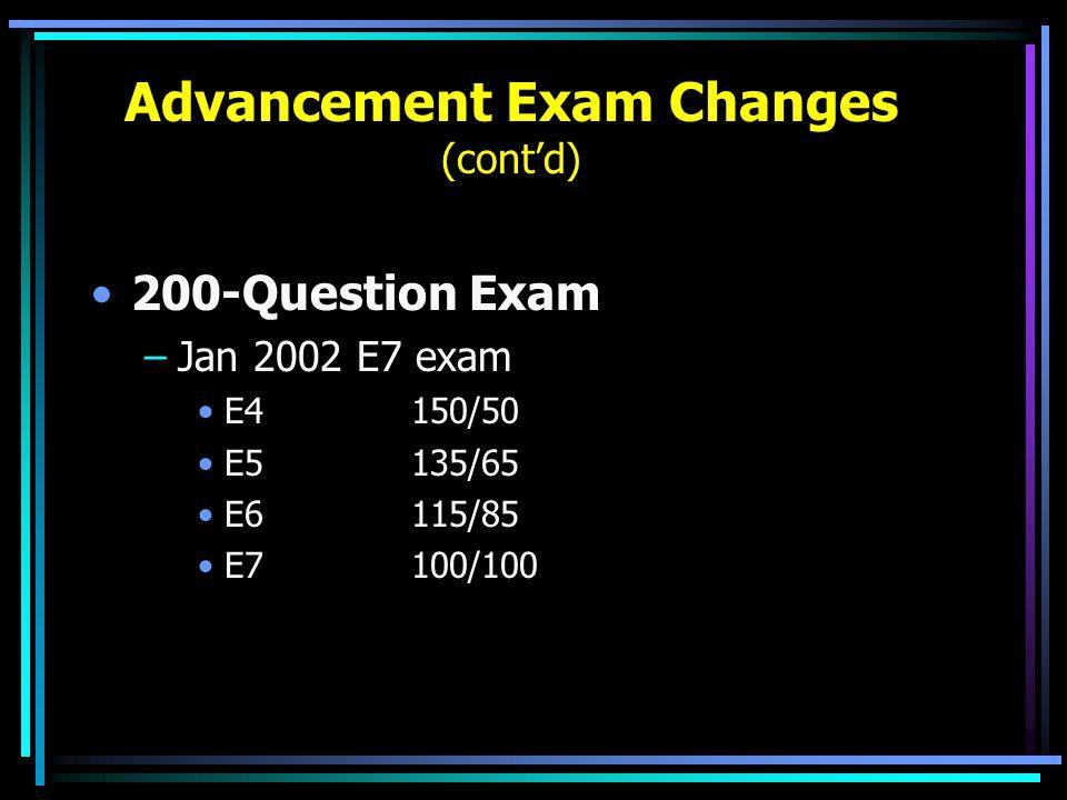 Advancement Exam Changes (cont'd) 200-Question Exam –Jan 2002 E7 exam E4150/50 E5135/65 E6115/85 E7100/100