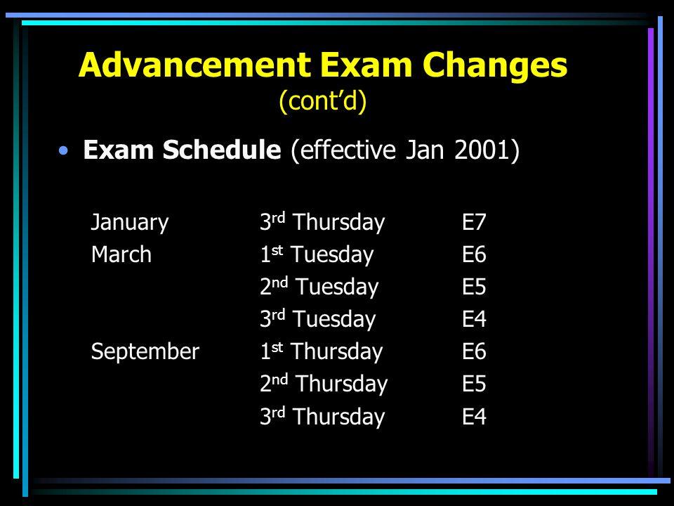 Advancement Exam Changes (cont'd) Exam Schedule (effective Jan 2001) January3 rd ThursdayE7 March1 st TuesdayE6 2 nd TuesdayE5 3 rd TuesdayE4 Septembe