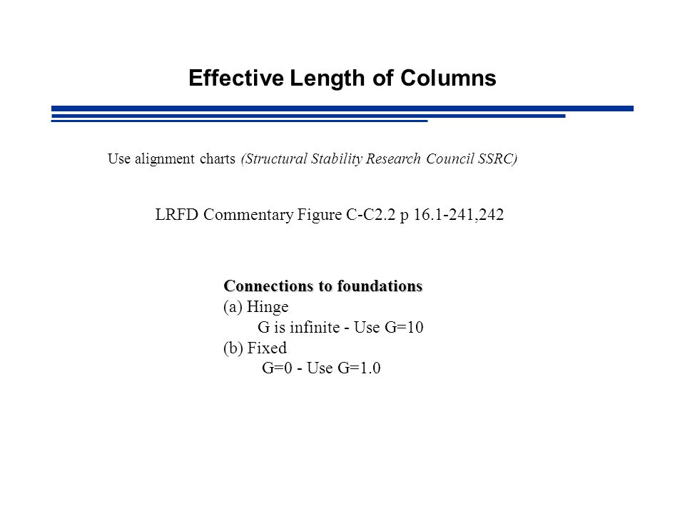 Effective Length of Columns Use alignment charts (Structural Stability Research Council SSRC) LRFD Commentary Figure C-C2.2 p 16.1-241,242 Connections to foundations (a) Hinge G is infinite - Use G=10 (b) Fixed G=0 - Use G=1.0