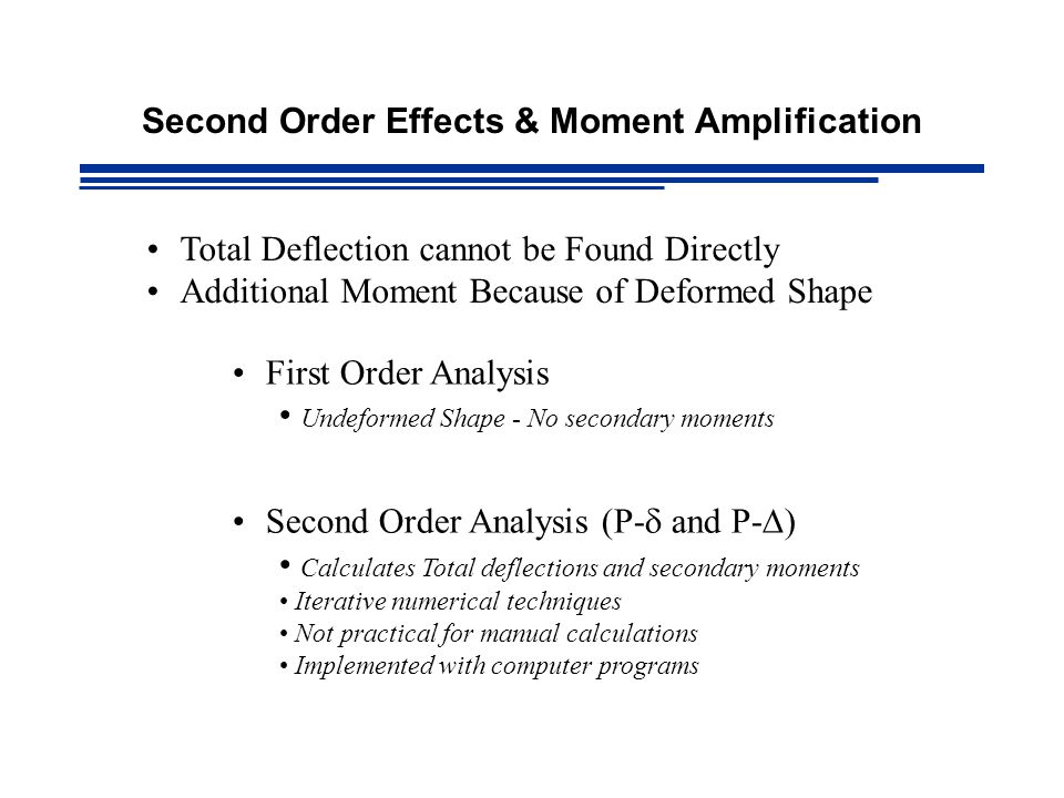 Second Order Effects & Moment Amplification Total Deflection cannot be Found Directly Additional Moment Because of Deformed Shape First Order Analysis Undeformed Shape - No secondary moments Second Order Analysis (P-  and P-  ) Calculates Total deflections and secondary moments Iterative numerical techniques Not practical for manual calculations Implemented with computer programs