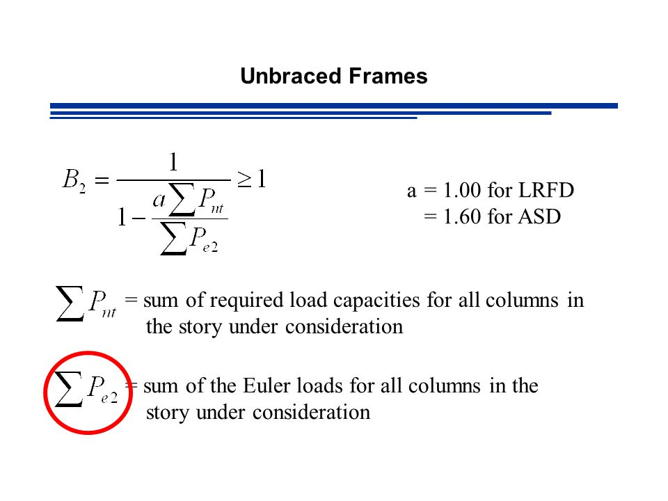 a= 1.00 for LRFD = 1.60 for ASD = sum of required load capacities for all columns in the story under consideration = sum of the Euler loads for all columns in the story under consideration