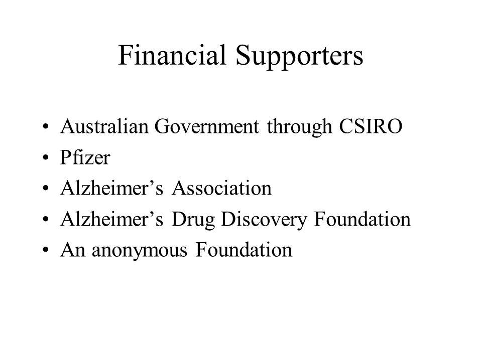 Financial Supporters Australian Government through CSIRO Pfizer Alzheimer's Association Alzheimer's Drug Discovery Foundation An anonymous Foundation