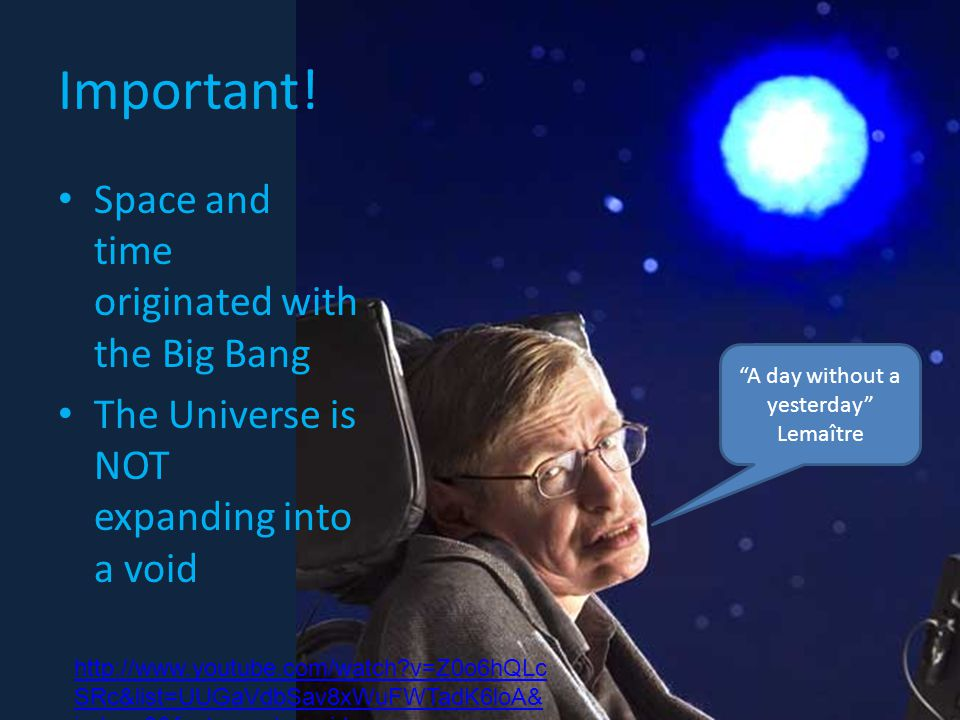 Space and time originated with the Big Bang The Universe is NOT expanding into a void Important.