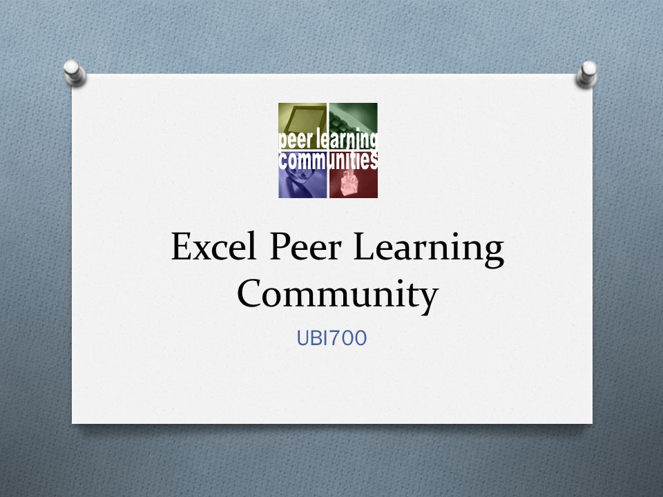 Excel Peer Learning Community UBI700