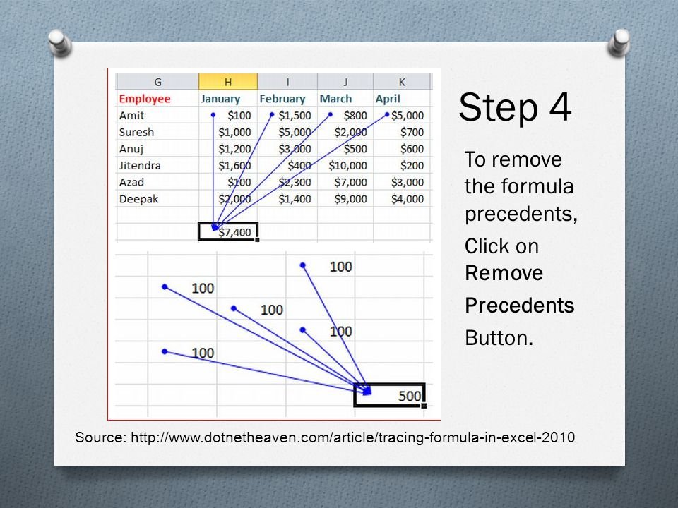 Step 4 To remove the formula precedents, Click on Remove Precedents Button.