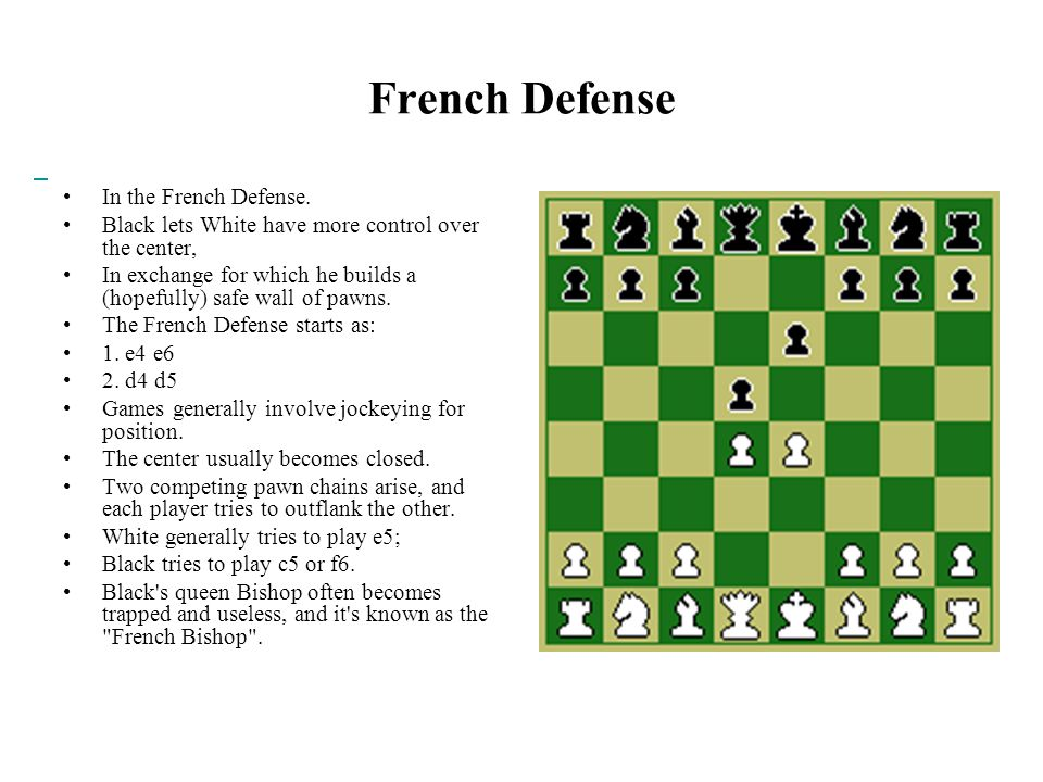 French Defense In the French Defense.