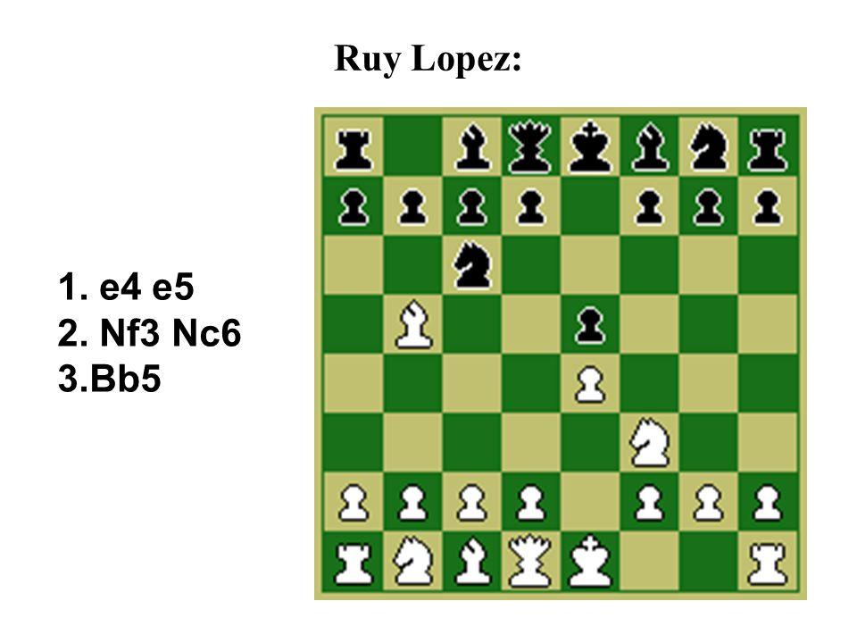 Ruy Lopez: 1. e4 e5 2. Nf3 Nc6 3.Bb5