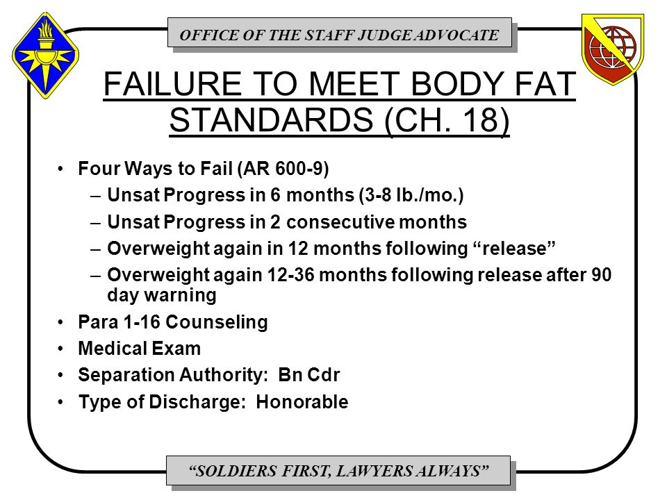 OFFICE OF THE STAFF JUDGE ADVOCATE SOLDIERS FIRST, LAWYERS ALWAYS FAILURE TO MEET BODY FAT STANDARDS (CH.
