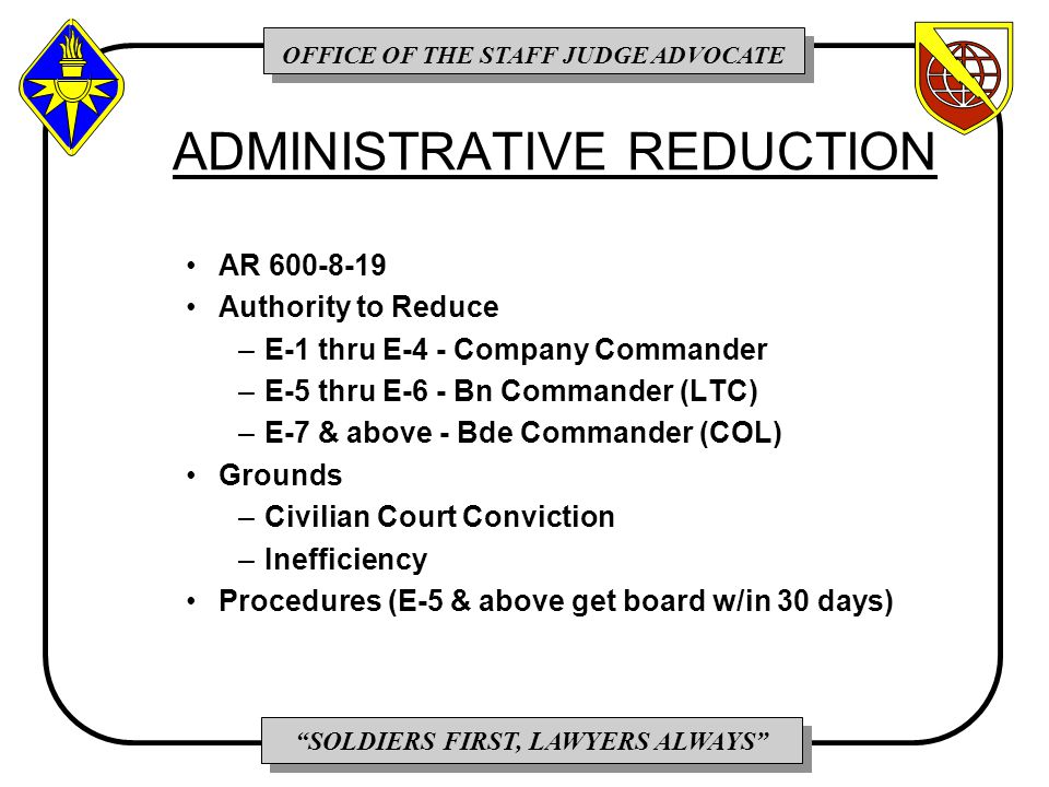 OFFICE OF THE STAFF JUDGE ADVOCATE SOLDIERS FIRST, LAWYERS ALWAYS ADMINISTRATIVE REDUCTION AR 600-8-19 Authority to Reduce –E-1 thru E-4 - Company Commander –E-5 thru E-6 - Bn Commander (LTC) –E-7 & above - Bde Commander (COL) Grounds –Civilian Court Conviction –Inefficiency Procedures (E-5 & above get board w/in 30 days)