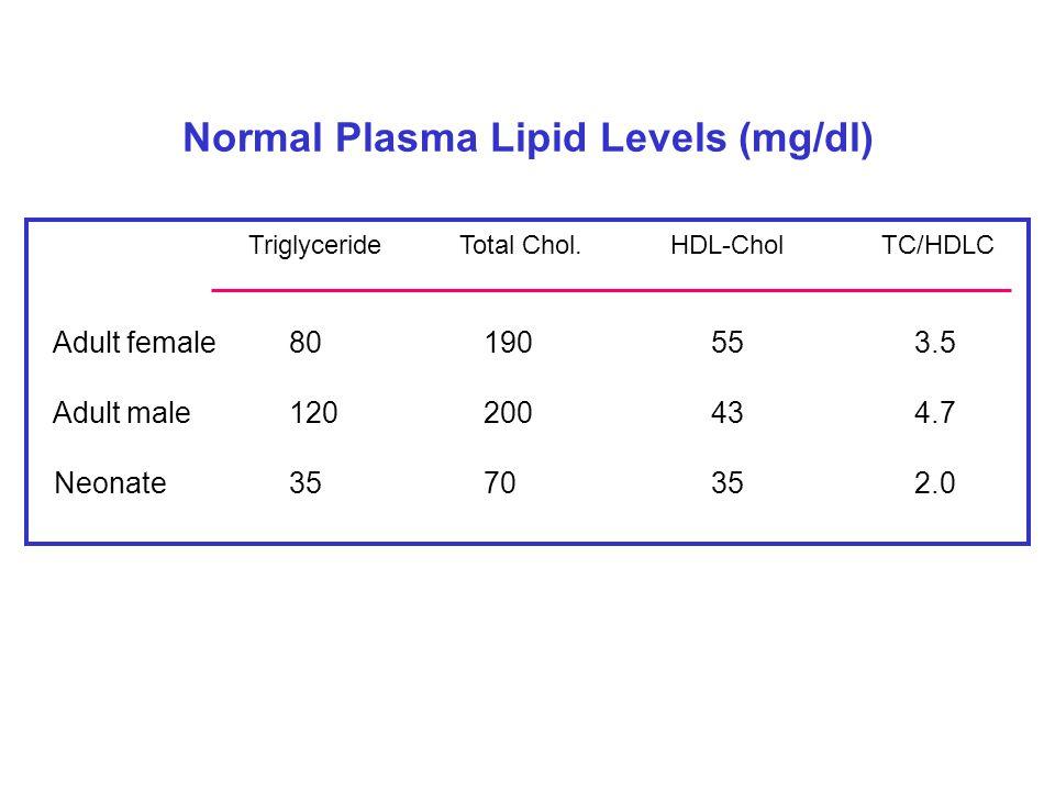 Normal Plasma Lipid Levels (mg/dl) TriglycerideTotal Chol.HDL-CholTC/HDLC Adult female 80 190 55 3.5 Adult male 120 200 43 4.7 Neonate 35 70 35 2.0