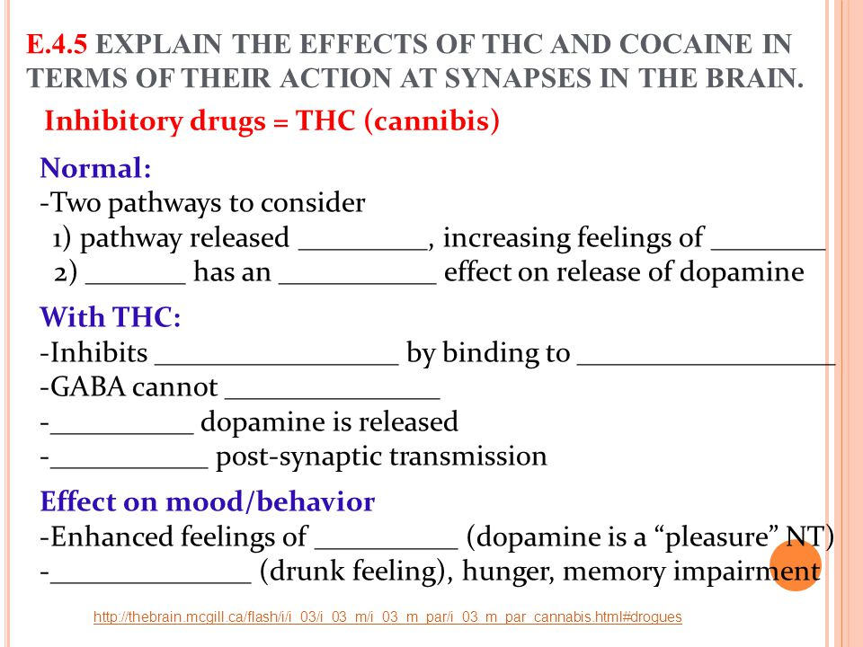 Inhibitory drugs = THC (cannibis) Normal: -Two pathways to consider 1) pathway released _________, increasing feelings of ________ 2) _______ has an _