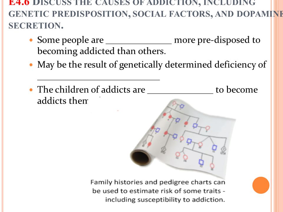 Some people are ______________ more pre-disposed to becoming addicted than others. May be the result of genetically determined deficiency of _________