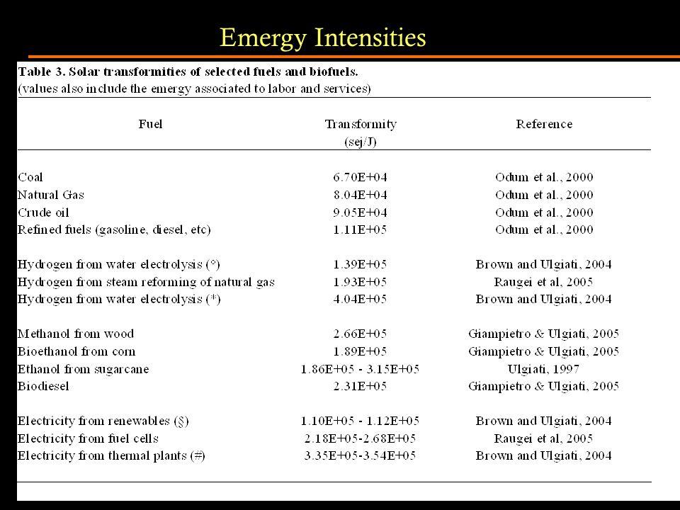 Emergy Intensities