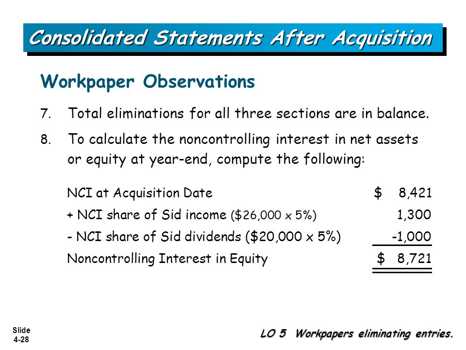 Slide 4-28 7. Total eliminations for all three sections are in balance. 8. To calculate the noncontrolling interest in net assets or equity at year-en