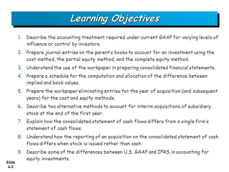 Slide 4-4 Investments in voting stock may be consolidated, or separately reported at cost, fair value, or equity.