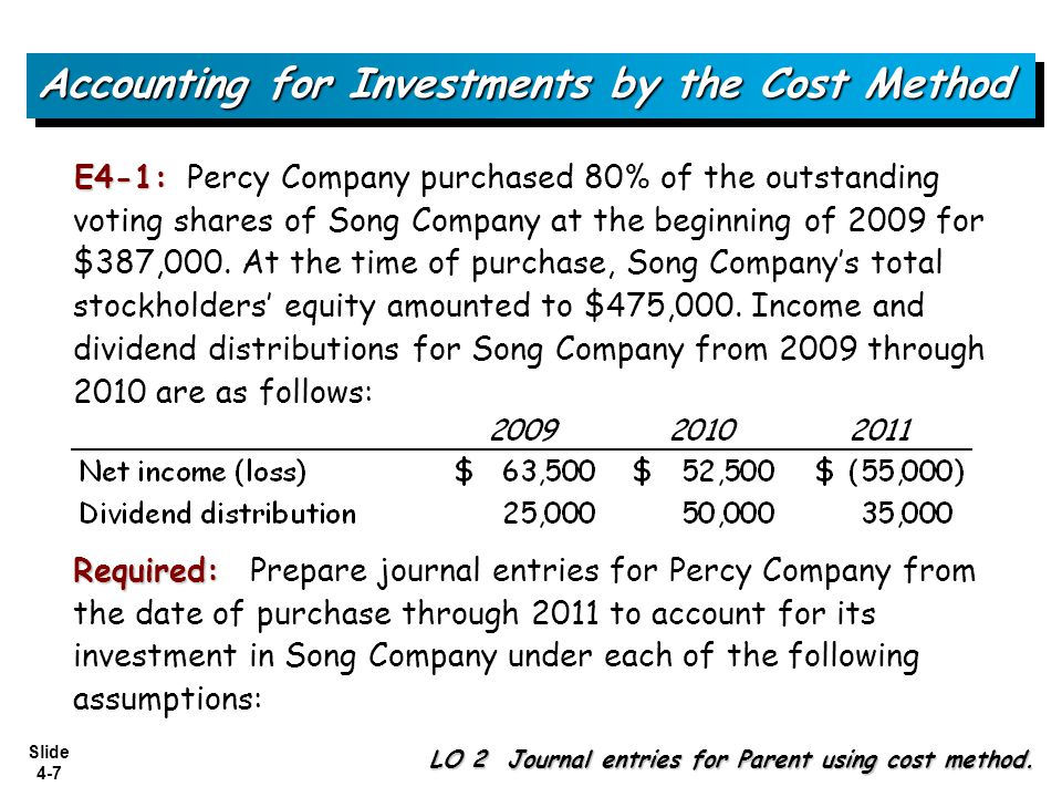 Slide 4-48 Satin Company declared a $60,000 cash dividend on December 20, 2009, payable on January 10, 2010, to stockholders of record on December 31, 2009.
