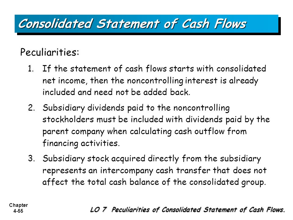 Chapter 4-55 Peculiarities: 1.If the statement of cash flows starts with consolidated net income, then the noncontrolling interest is already included