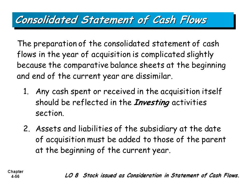 Chapter 4-56 The preparation of the consolidated statement of cash flows in the year of acquisition is complicated slightly because the comparative ba