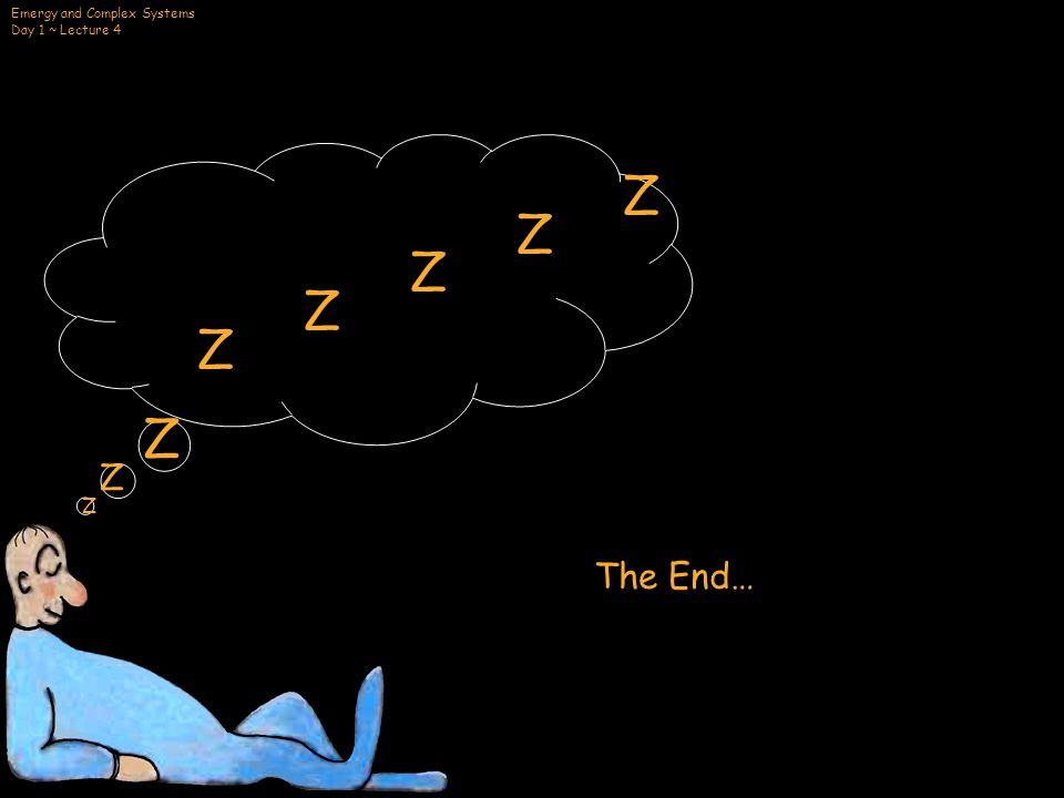 Emergy and Complex Systems Day 1 ~ Lecture 4 ZZZZZZZZZZ Z Z Z The End…