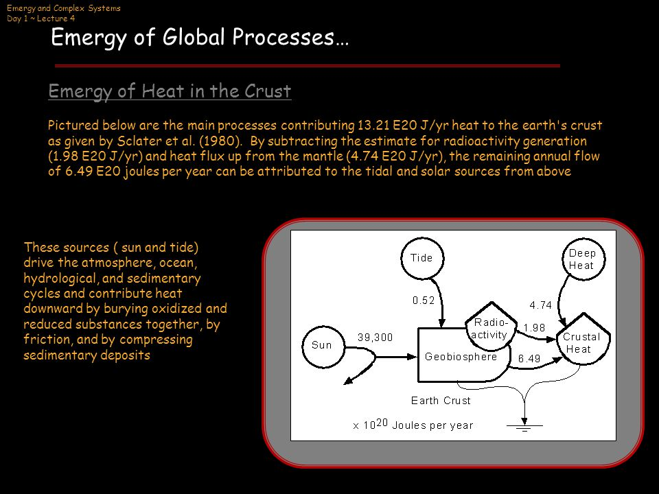 Emergy and Complex Systems Day 1 ~ Lecture 4 Emergy of Global Processes… Solar emergy + Tidal emergy = Emergy of the heat generated by the surface processes (39,300 E20 J/yr)(1 sej/J) + (0.52 E20 J/yr)*T rt = (6.49 E20) *T rh (1) Emergy of Heat in the Crust