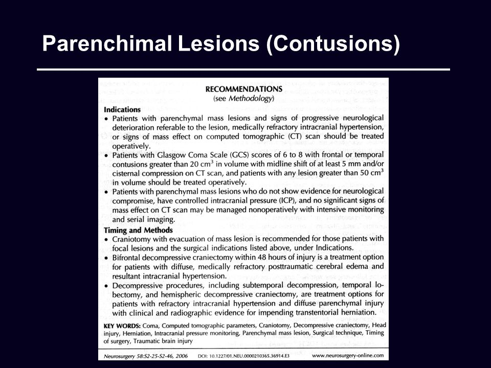 Parenchimal Lesions (Contusions)