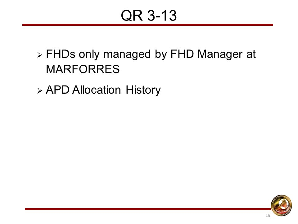 QR 3-13  FHDs only managed by FHD Manager at MARFORRES  APD Allocation History 19