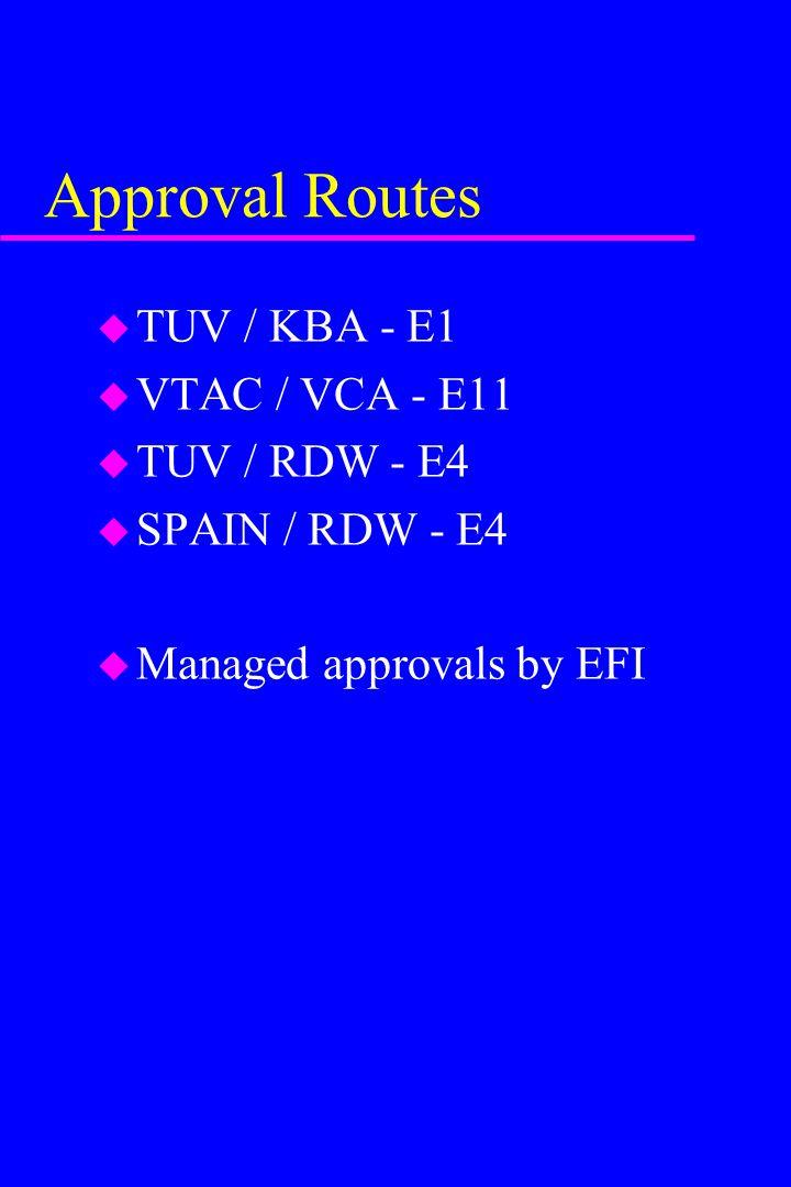Approval Routes u TUV / KBA - E1 u VTAC / VCA - E11 u TUV / RDW - E4 u SPAIN / RDW - E4 u Managed approvals by EFI