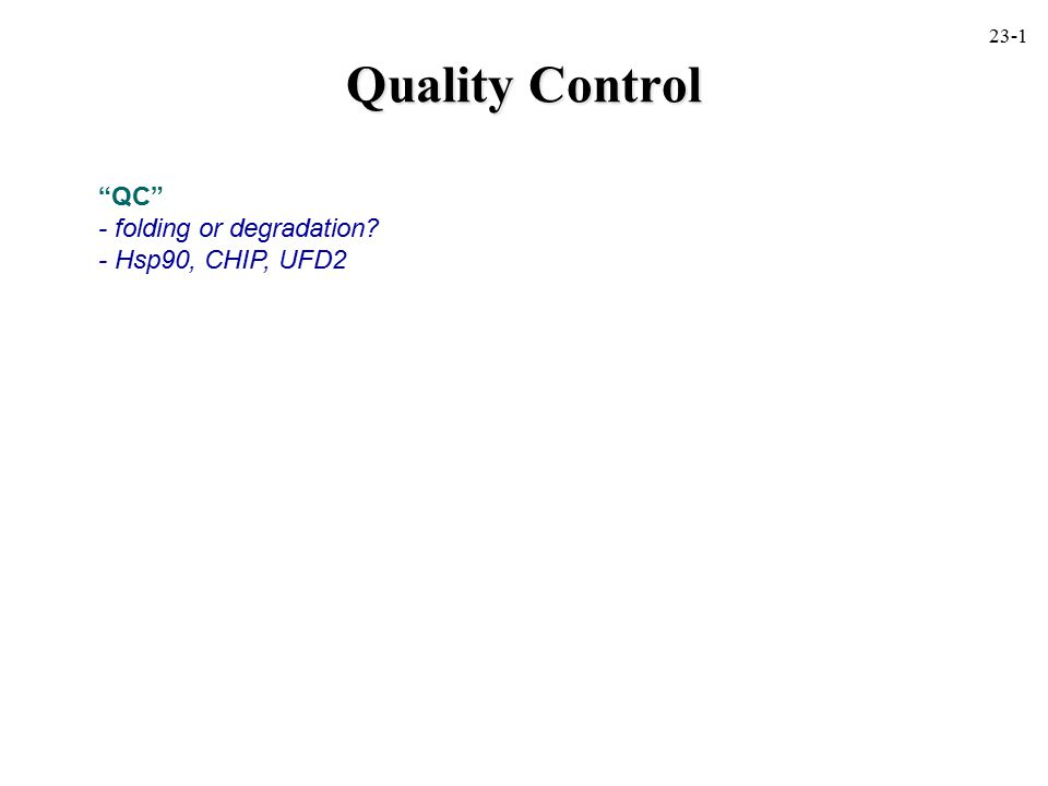 Quality Control QC - folding or degradation - Hsp90, CHIP, UFD2 23-1