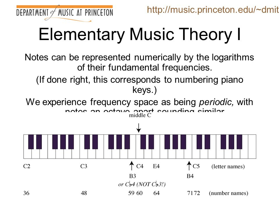 Elementary Music Theory II A musical staff is a two-dimensional graph http://music.princeton.edu/~dmitri