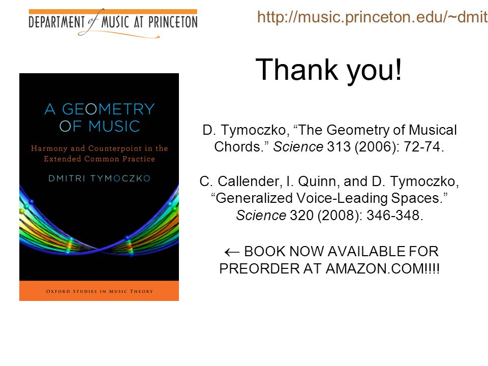 "Thank you! D. Tymoczko, ""The Geometry of Musical Chords."" Science 313 (2006): 72-74. C. Callender, I. Quinn, and D. Tymoczko, ""Generalized Voice-Leadi"
