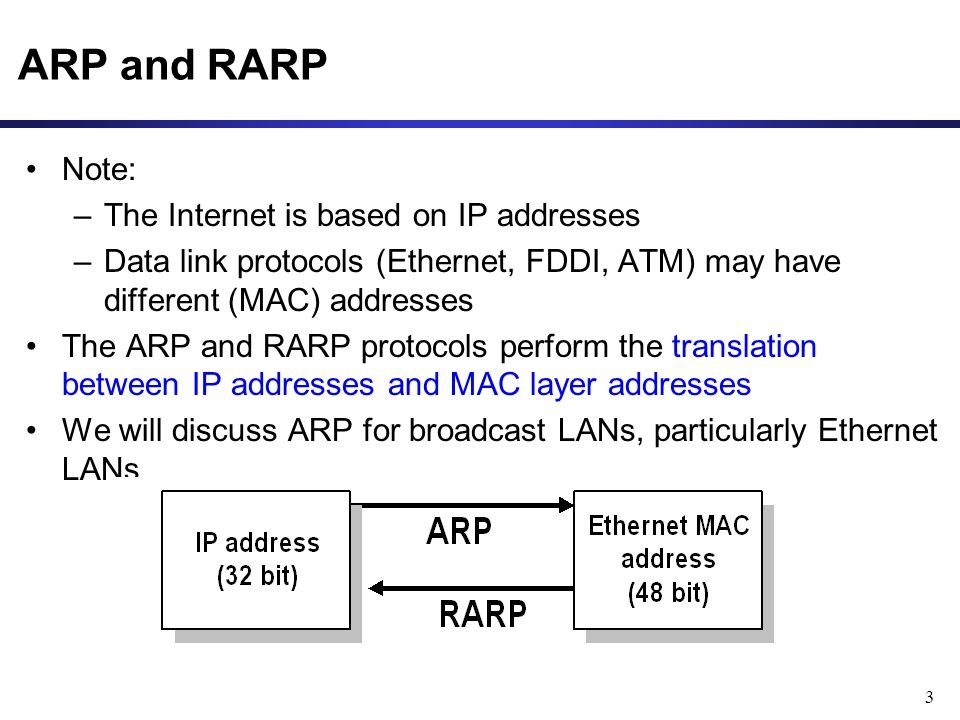 3 ARP and RARP Note: –The Internet is based on IP addresses –Data link protocols (Ethernet, FDDI, ATM) may have different (MAC) addresses The ARP and RARP protocols perform the translation between IP addresses and MAC layer addresses We will discuss ARP for broadcast LANs, particularly Ethernet LANs