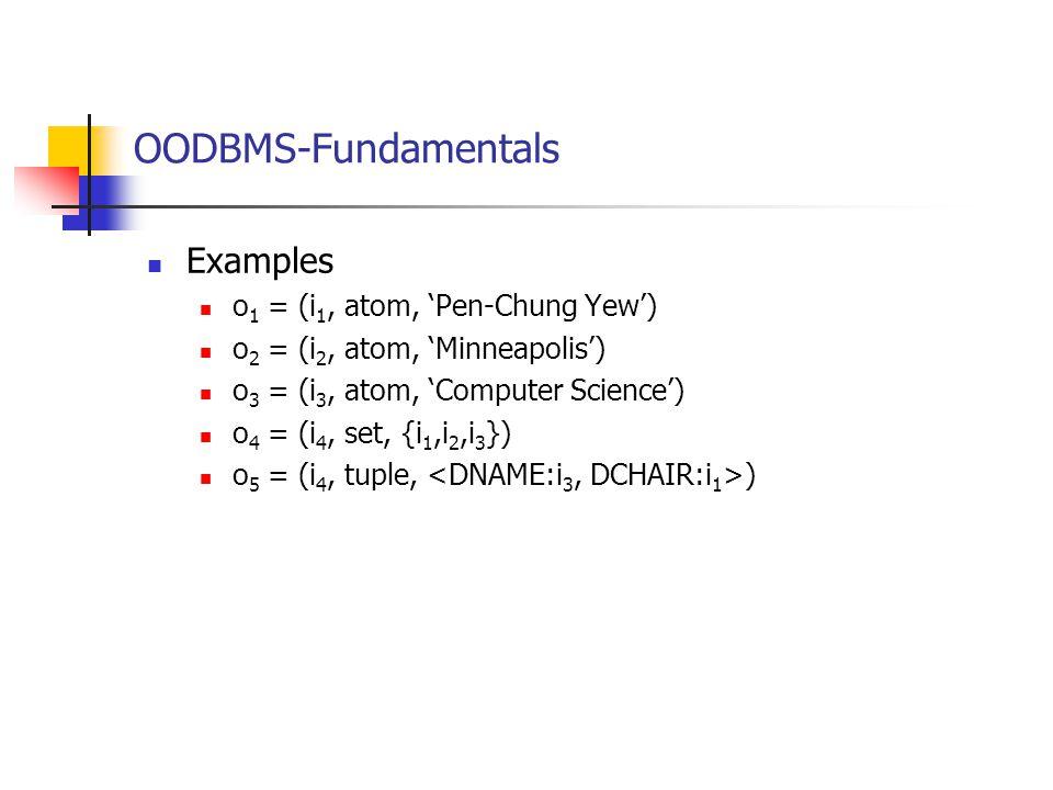 OODBMS-Fundamentals Examples o 1 = (i 1, atom, 'Pen-Chung Yew') o 2 = (i 2, atom, 'Minneapolis') o 3 = (i 3, atom, 'Computer Science') o 4 = (i 4, set