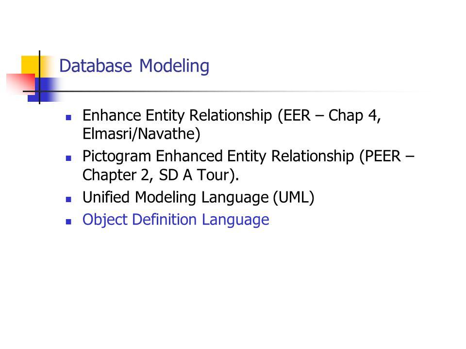 Database Modeling Enhance Entity Relationship (EER – Chap 4, Elmasri/Navathe) Pictogram Enhanced Entity Relationship (PEER – Chapter 2, SD A Tour). Un
