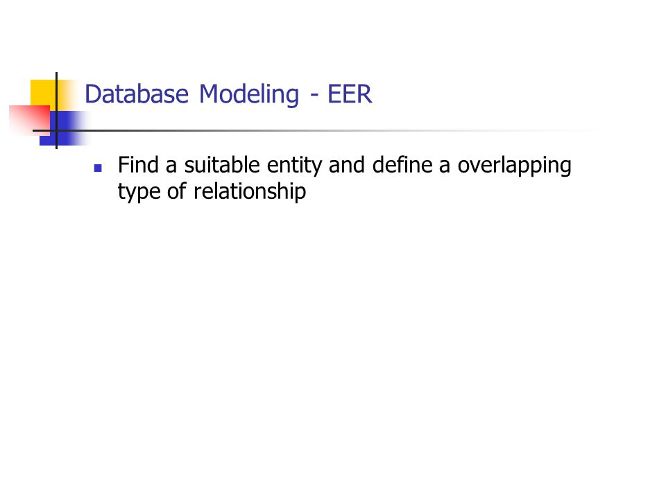 Database Modeling - EER Find a suitable entity and define a overlapping type of relationship