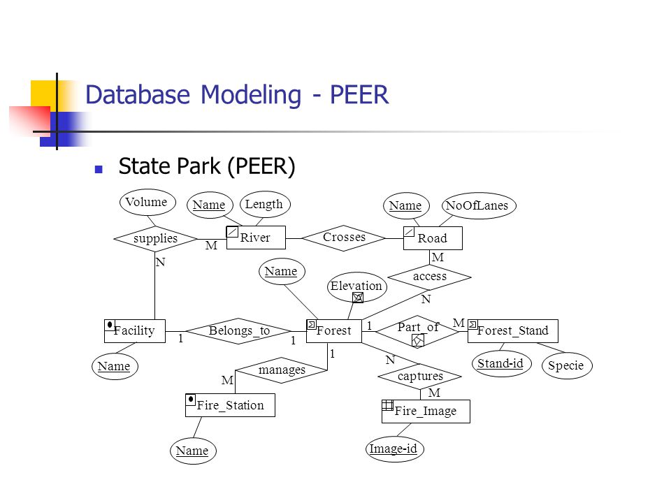 Database Modeling - PEER State Park (PEER) River Road Crosses Name Length NameNoOfLanes supplies Volume FacilityForestForest_Stand Fire_Station Fire_I