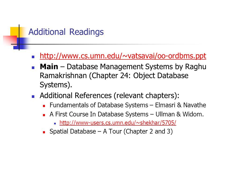 Additional Readings http://www.cs.umn.edu/~vatsavai/oo-ordbms.ppt Main – Database Management Systems by Raghu Ramakrishnan (Chapter 24: Object Databas