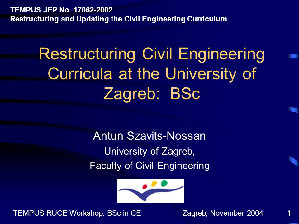 Zagreb, November 2004TEMPUS RUCE Workshop: BSc in CE1 Restructuring Civil Engineering Curricula at the University of Zagreb: BSc Antun Szavits-Nossan University of Zagreb, Faculty of Civil Engineering TEMPUS JEP No.