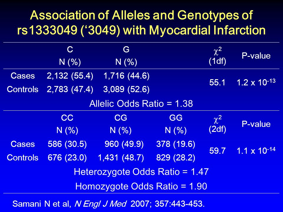 Association of Alleles and Genotypes of rs1333049 ('3049) with Myocardial Infarction C N (%) G N (%)  2 (1df) P-value Cases2,132 (55.4)1,716 (44.6) 55.11.2 x 10 -13 Controls2,783 (47.4)3,089 (52.6) Allelic Odds Ratio = 1.38 CC N (%) CG N (%) GG N (%)  2 (2df) P-value Cases586 (30.5) 960 (49.9)378 (19.6) 59.71.1 x 10 -14 Controls676 (23.0)1,431 (48.7)829 (28.2) Heterozygote Odds Ratio = 1.47 Homozygote Odds Ratio = 1.90 Samani N et al, N Engl J Med 2007; 357:443-453.