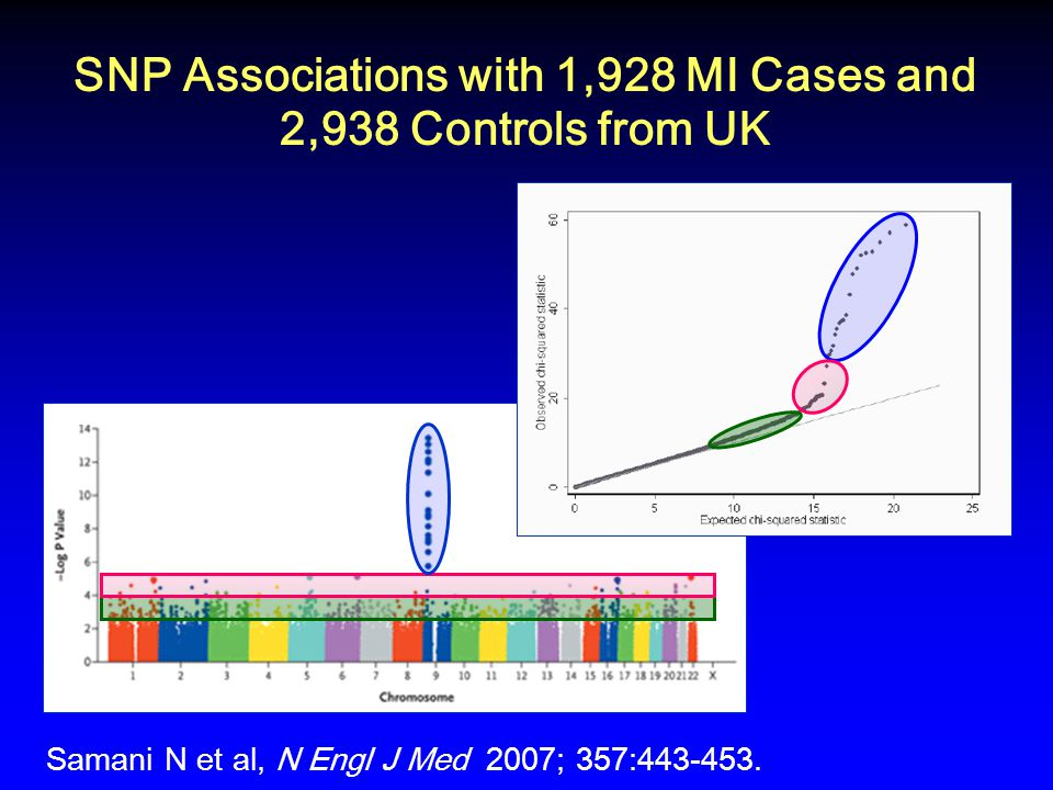SNP Associations with 1,928 MI Cases and 2,938 Controls from UK Samani N et al, N Engl J Med 2007; 357:443-453.